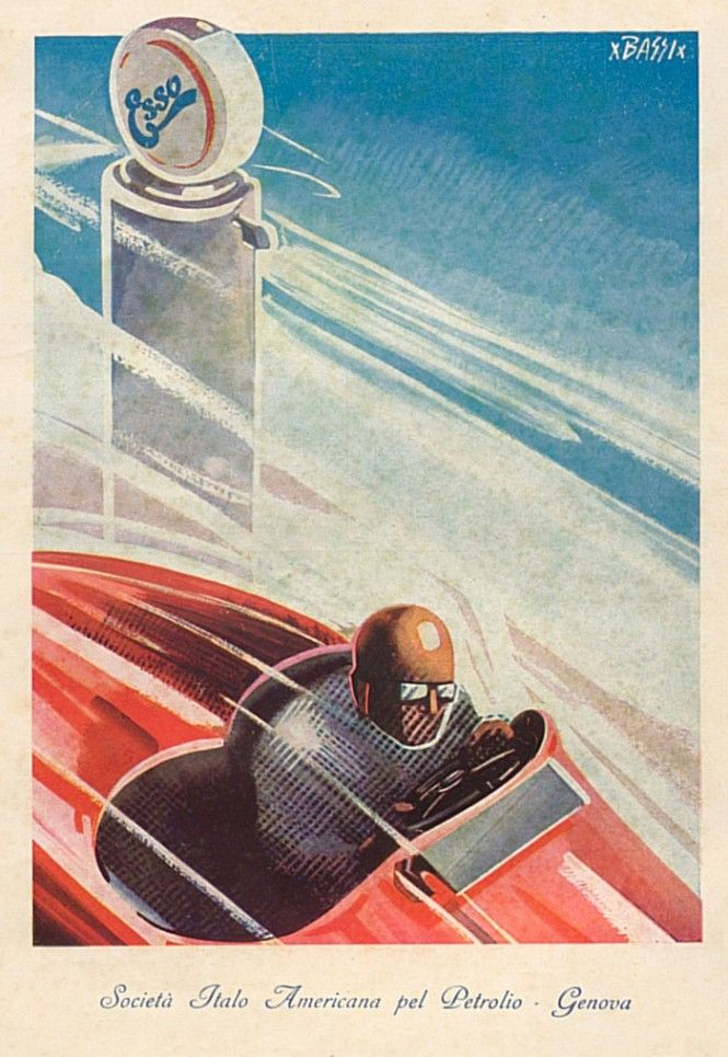 Renzo Bassi's posters advertising automotive and oil companies. www.italianways.com/renzo-bassi-full-color-engines/