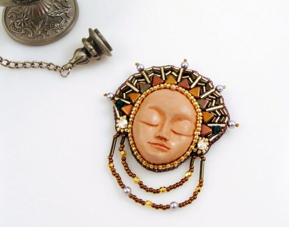 One of a Kind Goddess Face Brooch Bead Embroidery Brooch Polymer Clay Face by ThezoraArtBijoux