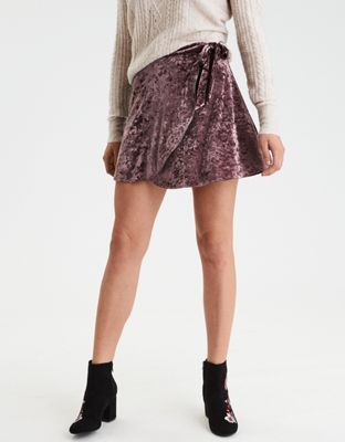 AE Velvet Wrap Skirt by  American Eagle Outfitters | Mini skirt. Maximum style. Make it yours.Mini skirt. Maximum style. Make it yours. Shop the AE Velvet Wrap Skirt and check out more at AE.com.