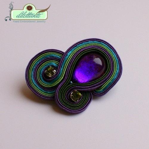 Yummy colors! Soutache Paisley Brooch by DILETTANTEsoutache on Etsy, $35.00