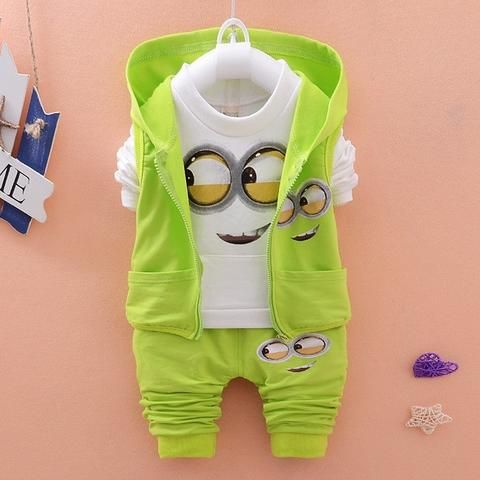 Newest 2017 Baby Girls Boys Minion Suits Infant/Newborn Clothes Sets Kids Vest+T Shirt+Pants 3 Pcs Sets Children Suits