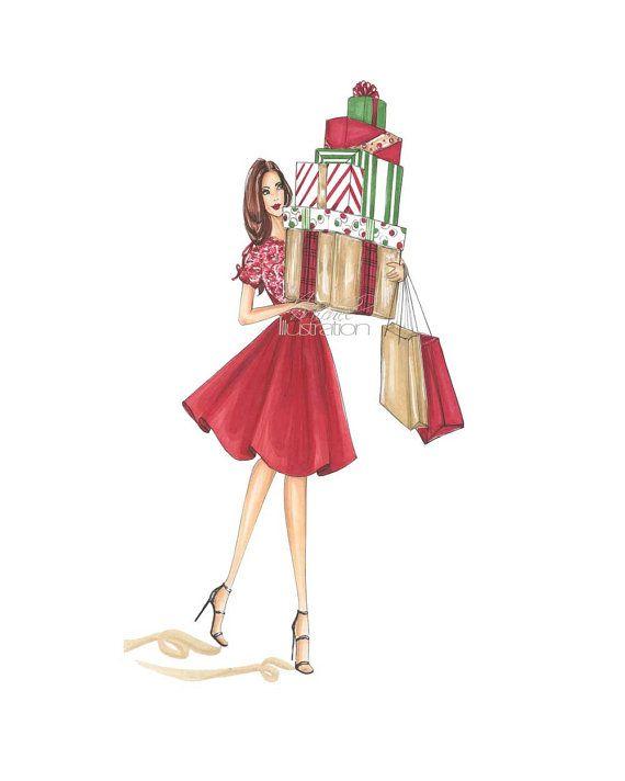 Holiday Christmas Fashion Illustration Balancing Bows by MMichelIllustration