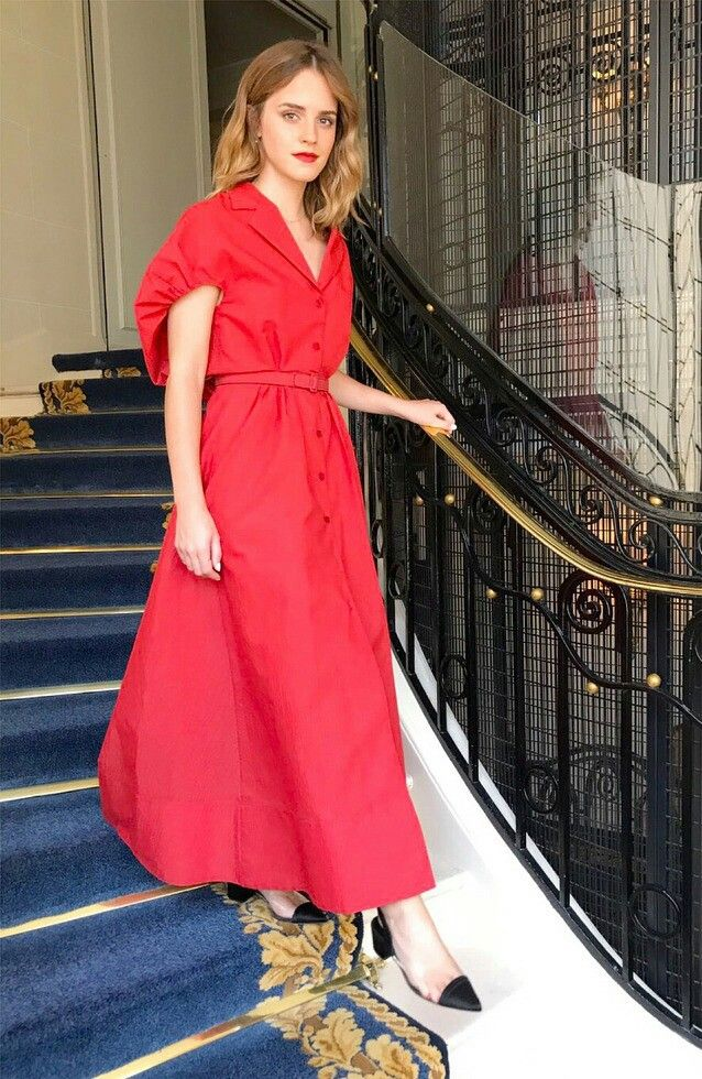 Emma Watson in Rosie Assoulin Fall 2017 with Creature of Comfort shoes