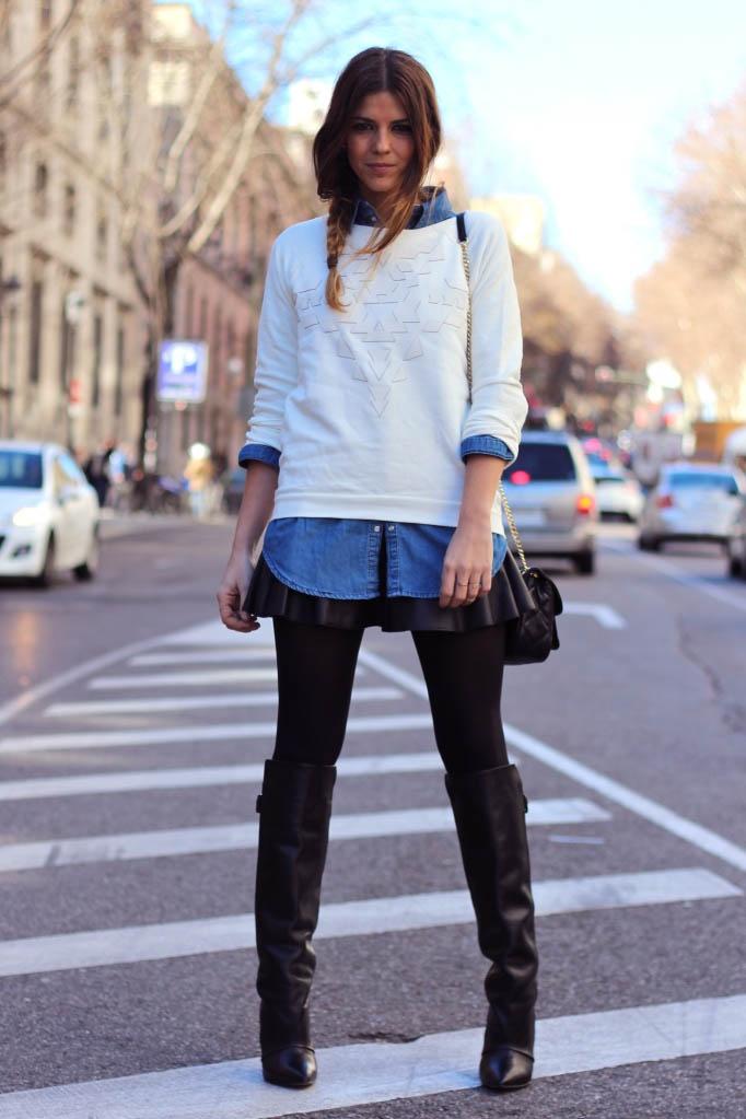El sweater también suele ser un gran acompañante de la falda de cuero. Like si te lo pondrías.