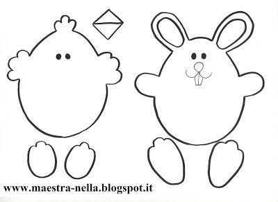 Pulcini e coniglietti spuntano da uova di Pasqua decorati con fiocchi e fiori.. Il tutto realizzato con dei fogli di cartoncino colorato.         Il modello per fare il fiocco di carta l'ho preso qu