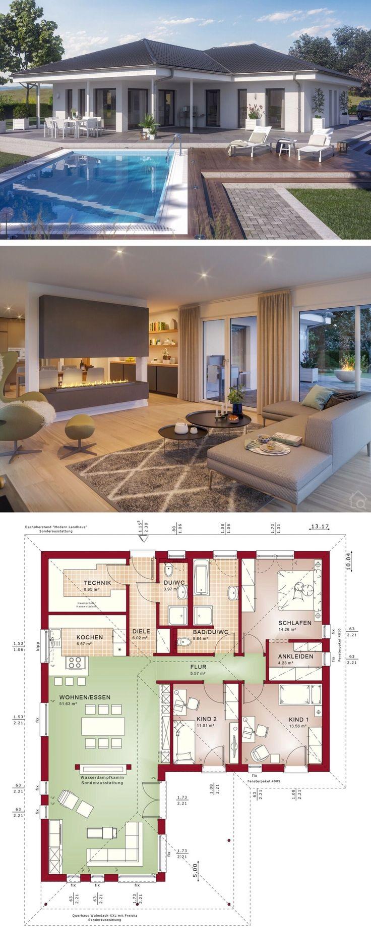 Winkelbungalow Haus mit Walmdach Architektur, Grun…