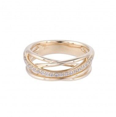 9ct yellow gold 0.15ct multi band diamond ring