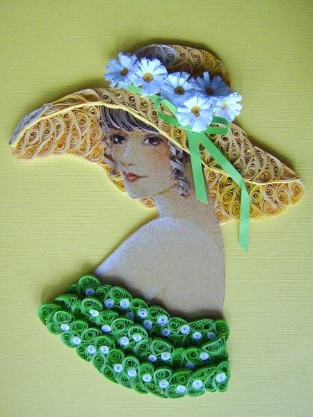 imágen-diseño en papel -dama con sombrero de margaritas