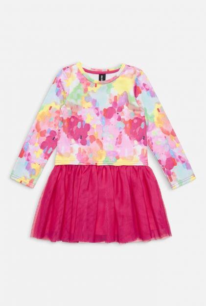 Платье детское для девочек ассорти, ассорти (20220200015). Размеры: 98, 104, 110, 116, 122, 128. Маленькое фото. Вид спереди. Вид сзади.