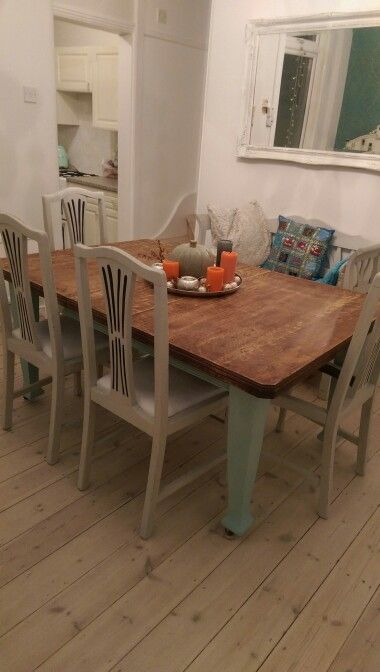 Painted Victorian dining table and chairs . Annie Sloan chalk paint