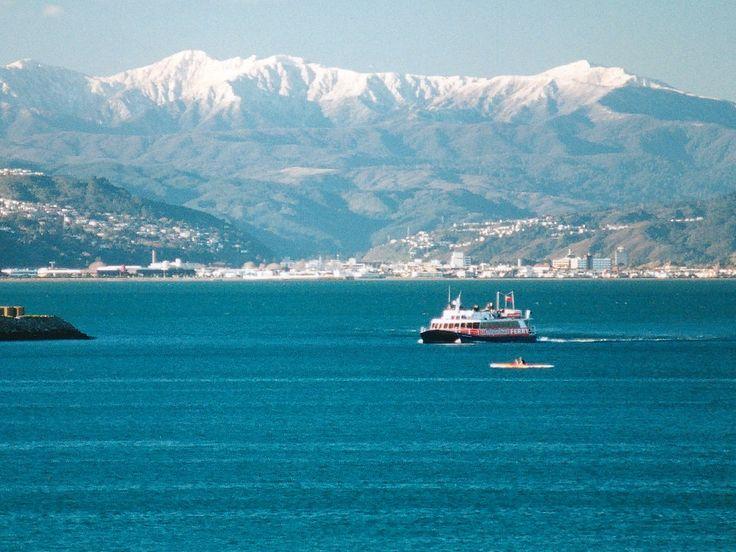 Wellington Harbour and Tararua mountain range, New Zealand