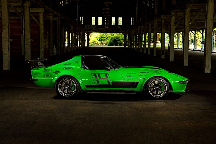 "Like getting a makeover on your 50th birthday? Bob Bertelsen's 1968 ""#Green Mamba"" #protouring #Corvette is powered by a naturally-aspirated Holley EFI-injected Kurt Urban 427 mated to a Bowler Performance Tremec transmission through a Centerforce clutch. And it rides on Detroit Speed suspension, JRI coilovers, Baer brakes, and 18x11.5/18x12.5 #Forgeline #CV3C wheels finished with Black Chrome PVD centers & Transparent Smoke outers!   Photo by McGaffin Digital Photo courtesy of #HotRod…"