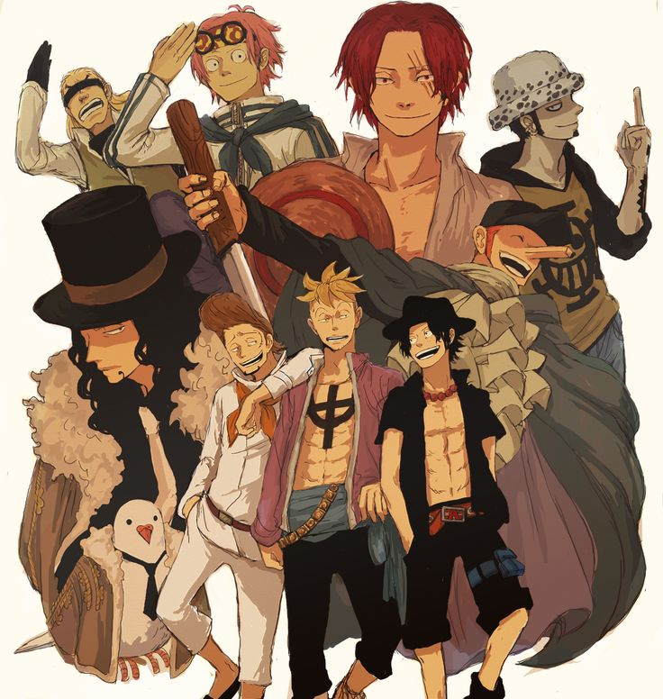 One Piece Character Group Photo Helmeppo, Koby, Shanks, Trafalgar Law, Rob Lucci, Thatch, Marco, and Ace