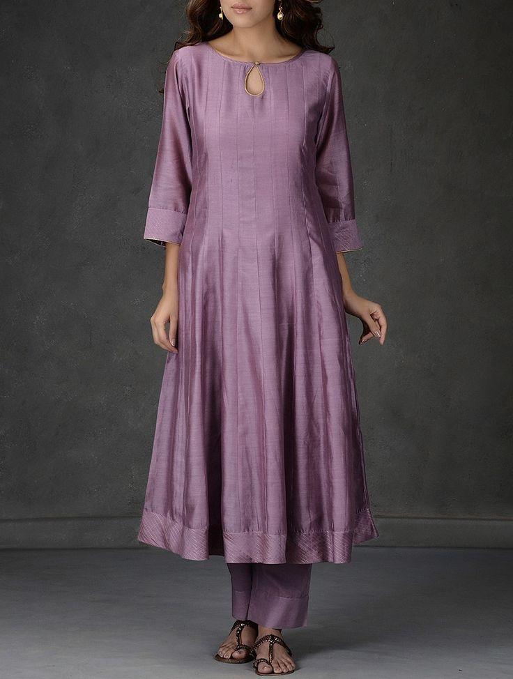 Buy Mauve Kalidar Chanderi Kurta with Tie Up Waist Cotton Pants (Set of 2) Women Kurtas The Treasure Chest dupattas sarees and more Online at Jaypore.com