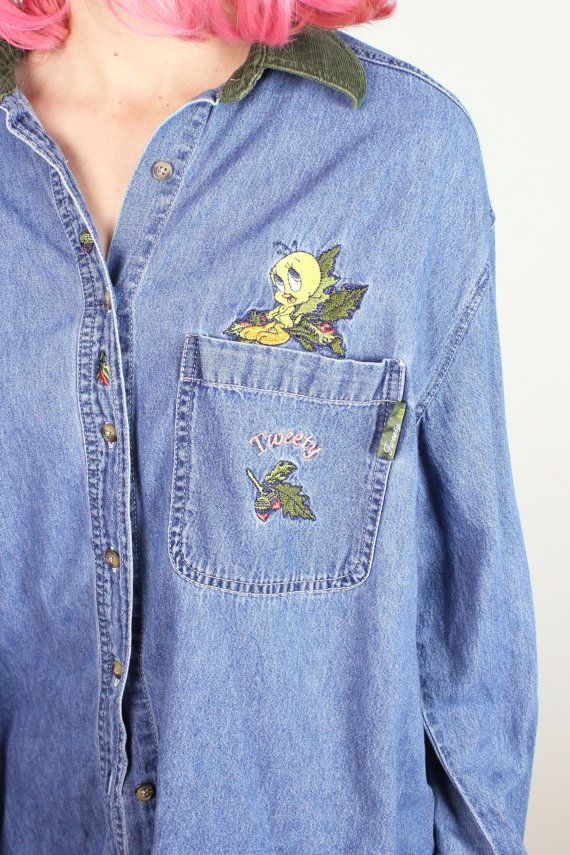 Version has vintage looney tunes denim shirts
