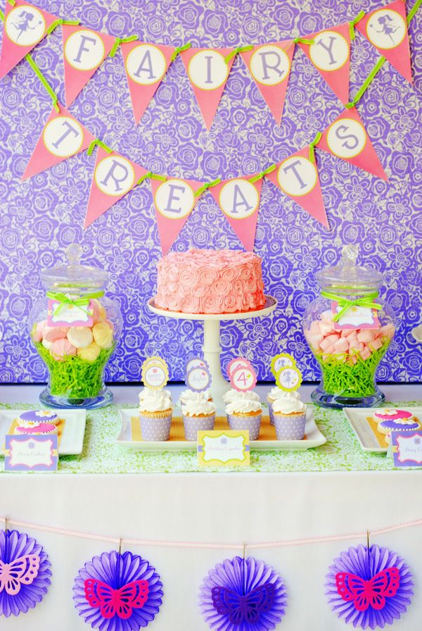A large banner with paper backdrop makes this dessert table look quite stunning.