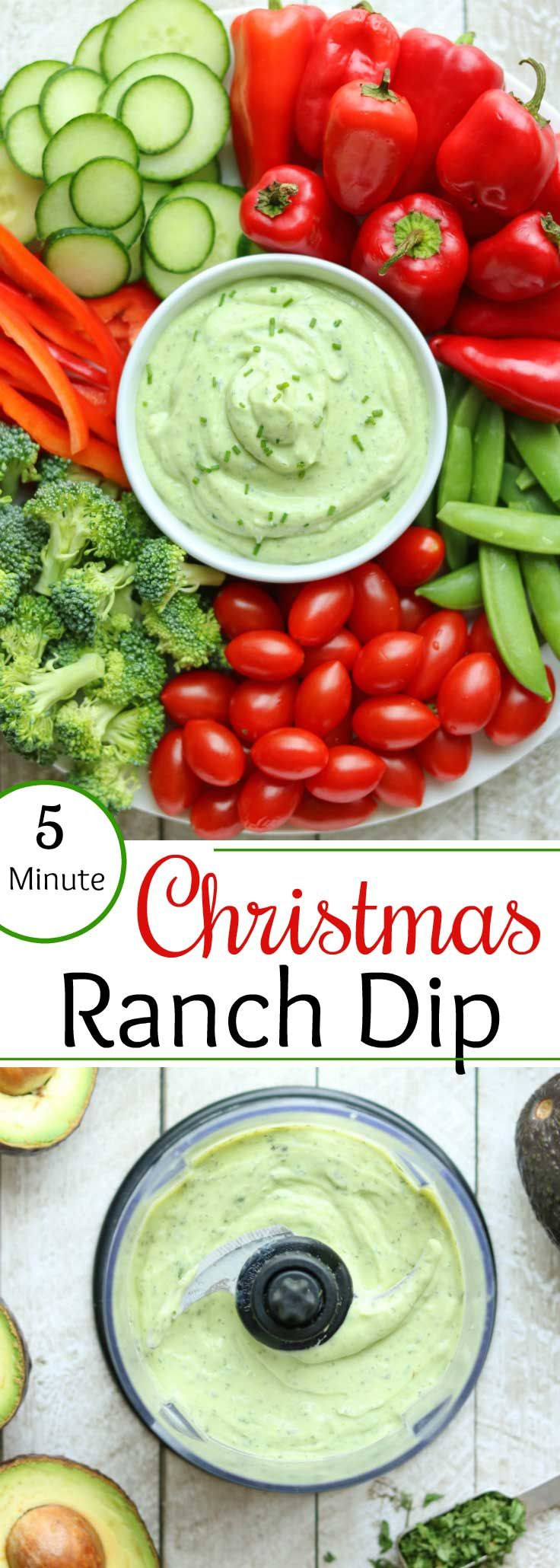 A perfect Christmas appetizer! Surround our pretty green Avocado Ranch Dip with festive red and green veggies! And, since it's ready in just minutes, this appetizer recipe is great for busy hostesses and last-minute parties. So creamy and delicious, like a cross between traditional ranch dip and guacamole! #Christmas #Christmasrecipe #avocado #greekyogurt #appetizer #healthysnacks #appetizerfood #holidayrecipes #healthyrecipes #ranchdip #veggiedip | www.TwoHealthyKitchens.com