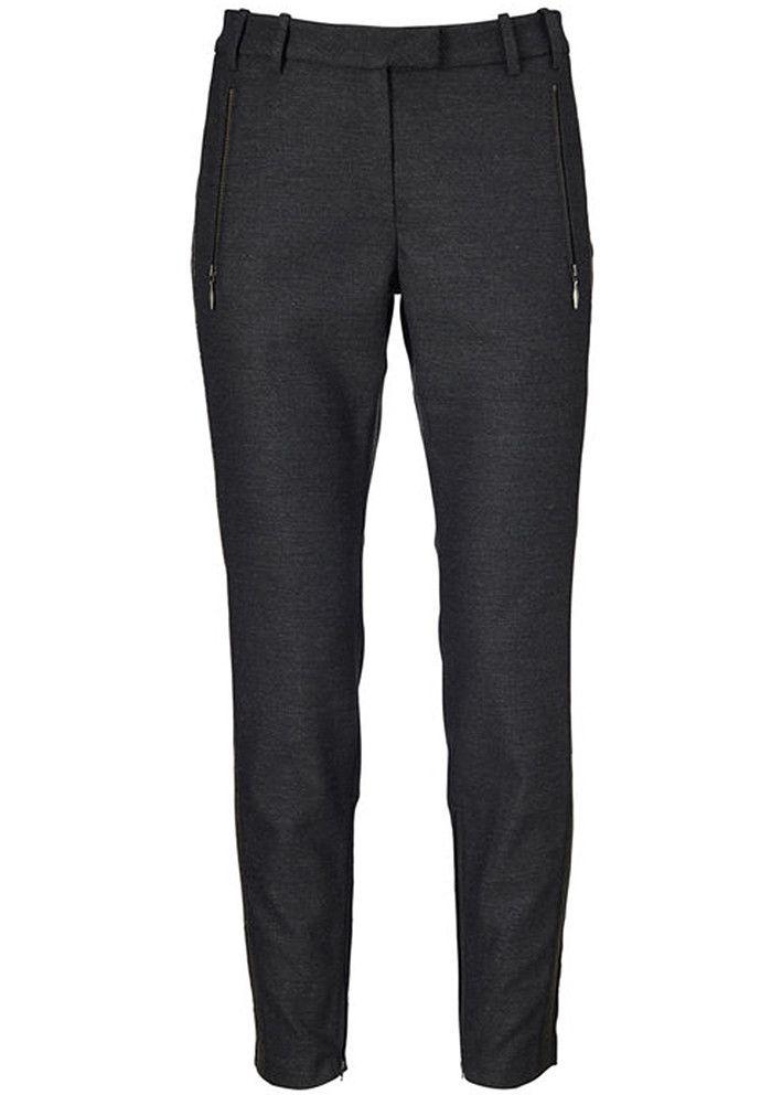 Gustav Tight Pants 16029 black melange - sort melerede bukser – acorns