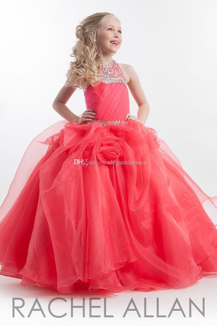 Glitz pageant dresses for rent - New Arrival 2015 Coral Halter Sparking Beading Girls Pageant Dresses For Girls Kids Flower Girl Dress Custom Made Pageant Gowns Glitz Pageant Dresses For