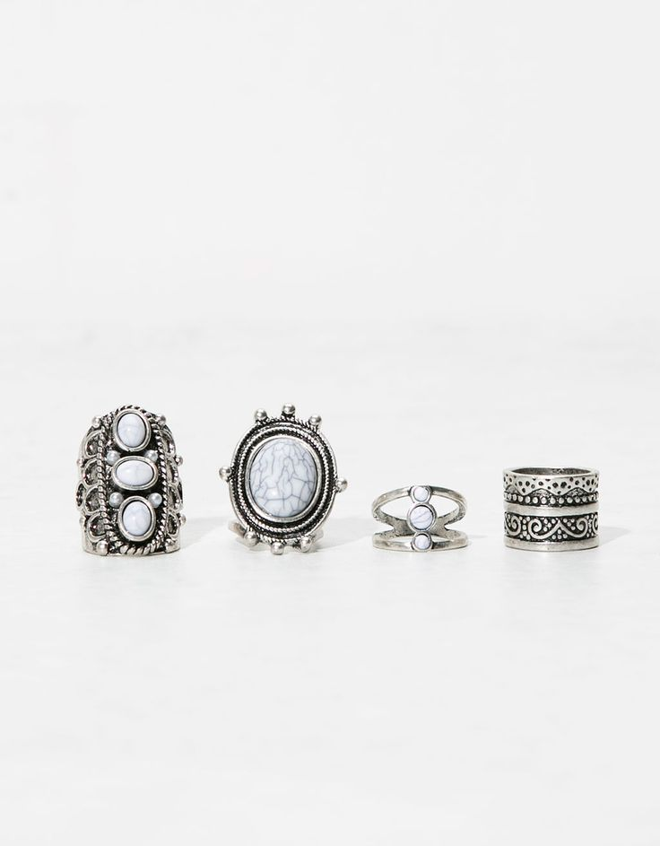 Set of 4 white stone rings. Discover this and many more items in Bershka with new products every week