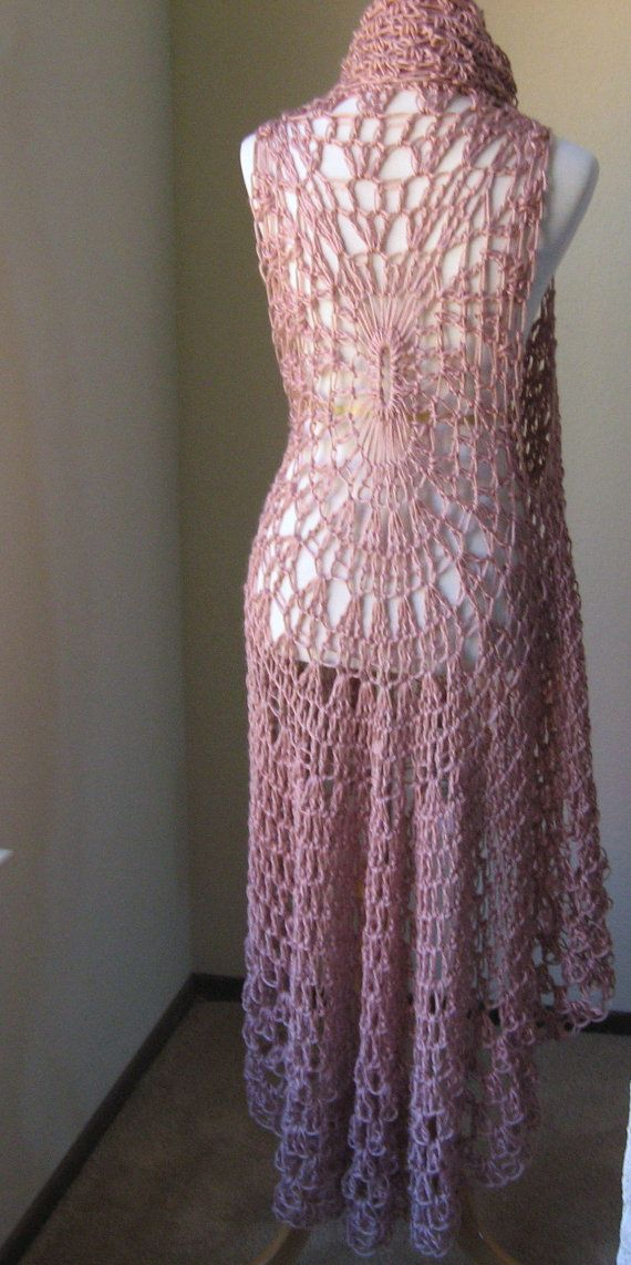 Pale Pink Crochet Vest  Feminine Chic Boho Style door marianavail, $75.00