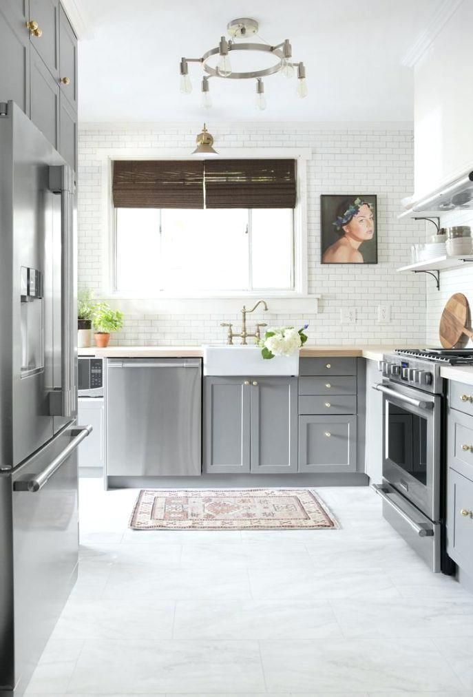 Tile Floor Grey Kitchen Floor White Kitchen Floor Kitchen Remodel Small