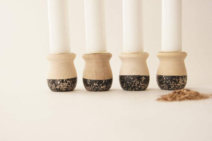 Wooden Candle Cups, Black Sparkle,  $16.00, via Etsy.
