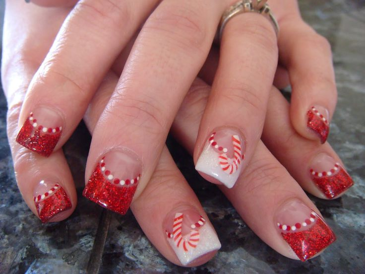 Cute Christmas Nail Designs | These are fimo clay candy canes that I purchased from ...