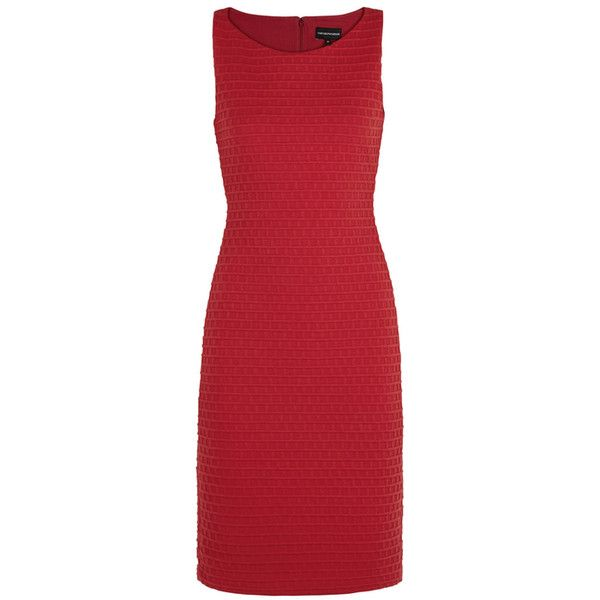 Emporio Armani Red Waffle-textured Jersey Dress (18.905 RUB) ❤ liked on Polyvore featuring dresses, emporio armani dresses, red jersey dress, red day dress, emporio armani and textured dress