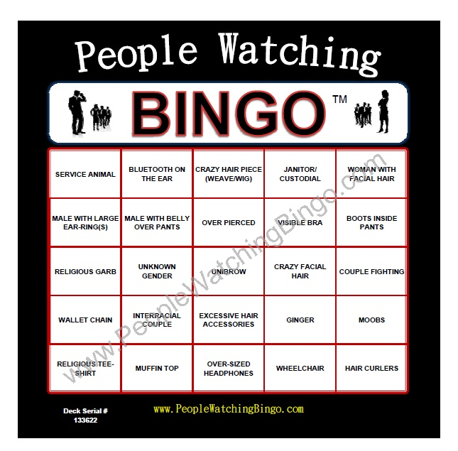 People Watching Bingo - would love to play this game!! Cousin activity!!