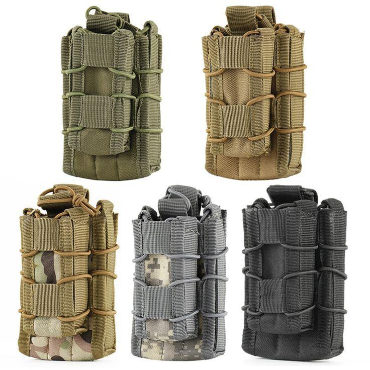 Молл тактический Открытый Топ double decker одиночный винтовки пистолет подсумок обойму чехол Охота сумка купить на AliExpress