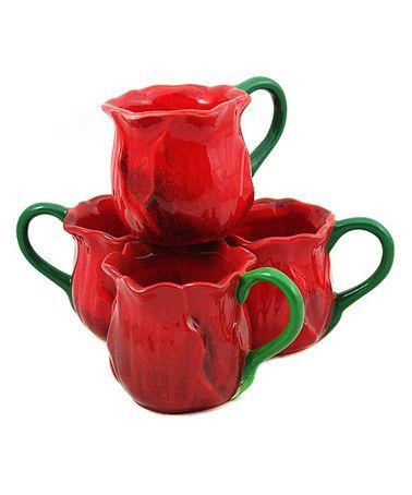 cuteee red rose mug set