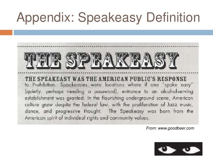 a description of speakeasy prohibition of food The food of the 1920s  prohibition less use of alcohol in recipes  bathtub gin, cocktails, finger food and the elusive speakeasy cocktail gains popularity.