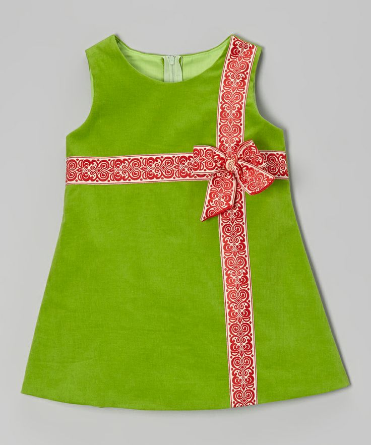 Green & Red Corduroy Bow Dress - Infant, Toddler & Girls | Daily deals for moms, babies and kids