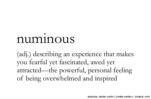 numinous: describing an experience that makes you fearful yet fascinated, awed yet attracted--the powerful personal feeling of being overwhelmed and inspired.