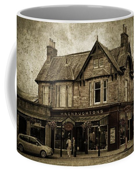 Jenny Rainbow Fine Art Photography Coffee Mug featuring the photograph Macnaughtons Of Pitlochry. Perthshire. Sepia by Jenny Rainbow
