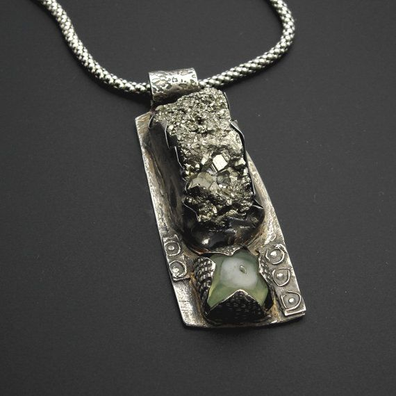RAW  Edgy and Unusual Sterling Silver Pyrite and by designsbysuzyn