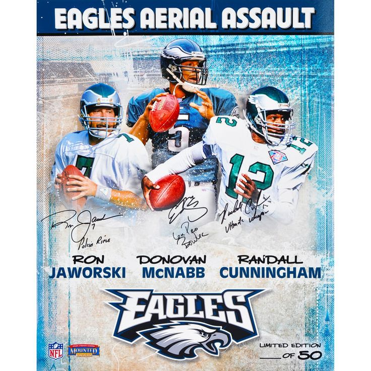 "Donovan McNabb, Randall Cunningham, and Ron Jaworski Philadelphia Eagles Fanatics Authentic Autographed 16"" x 20"" Collage Photograph with Multiple Inscriptions-Limited Edition of 50"