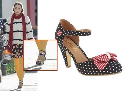 me before you shoes: lou's (Emilia Clarke) blue polka dot heels with red bow