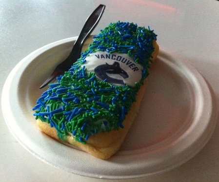 "Tim Hortons introduces the Official Donut of the Vancouver Canucks, the ""Vancouver Canucks Donut Supreme."""