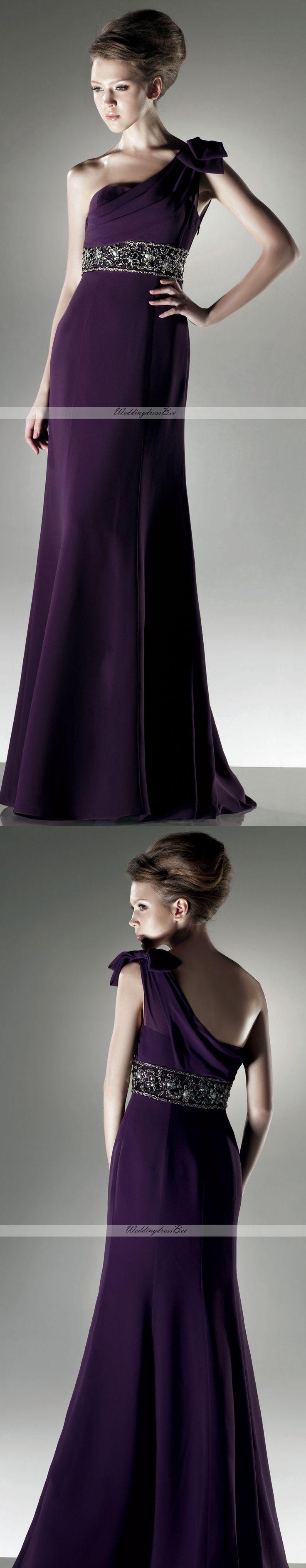 Modern One shoulder A-line chiffon dress