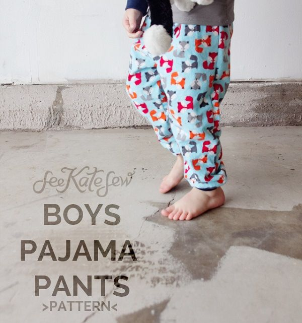 Free pattern: Boys pajama pants with ankle cuffs, plus a fox applique