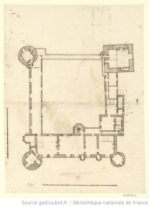 Château de Maintenon : autre plan dudit chateau haché à la plume [premier étage] : [dessin] / [Robert de Cotte] - 1