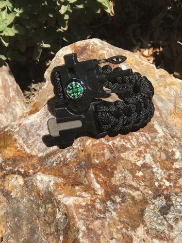 4-in-1 Survival Paracord Bracelet Outdoor Compass Flint Fire Starter Whistle