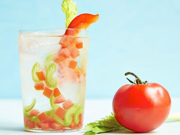Tomato-Celery-Bell Pepper Water  Seasonal vegetables aren't only for your salad: This trio of summer veggies brightens up a pitcher of water.