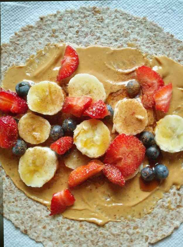 Make a quick breakfast wrap with fruit, nut butter, cinnamon, and a whole wheat wrap.