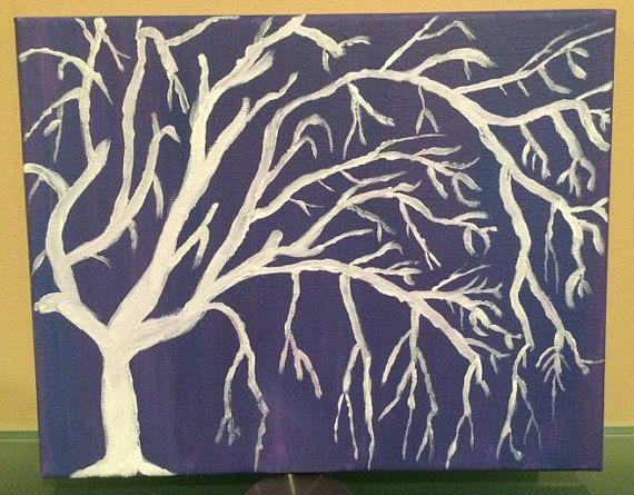 White tree with purple background original by polarizedart on Etsy