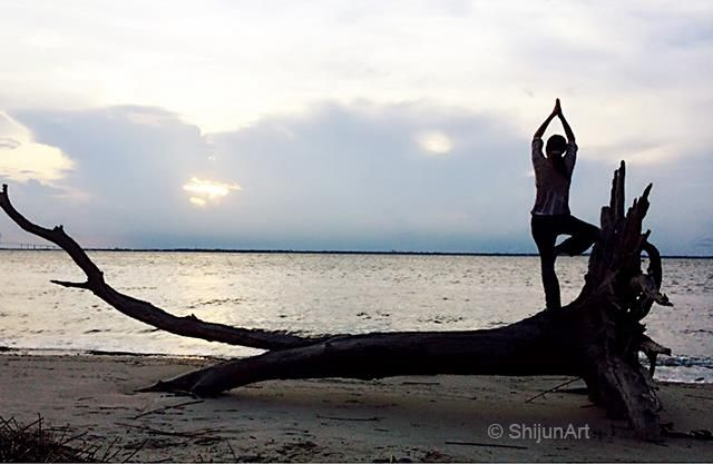 Time for yoga! On the beach at Jekyll Island in August 2014