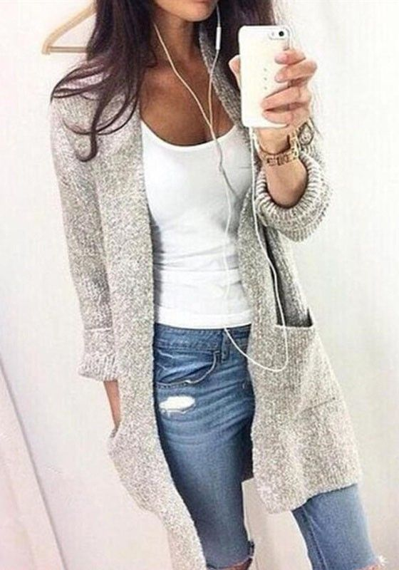 Grey Plain Pockets Round Neck Long Sleeve Casual Cardigan Sweater – Sweaters – Tops