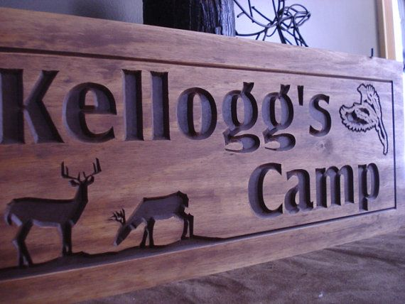 Wooden carved ranch cabin signs last name family address for Cabin signs wood
